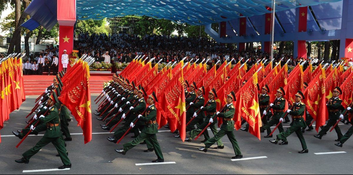 Soldiers march in a parade marking the 40th anniversary of the fall of Saigon on April 30, 2015. Photo: AFP / Hoang Dinh Nam