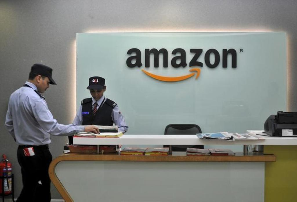 Security guards are seen at Amazon's Bangalore office. Photo: Reuters