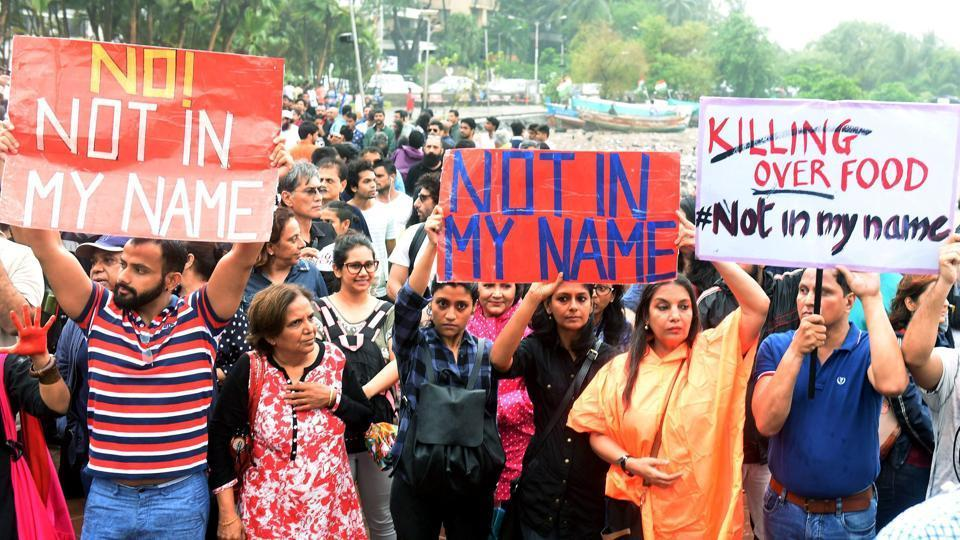 Activists at the 'Not in My Name' protest against vigilante violence in Mumbai in early July, 2017. Photo: PTI