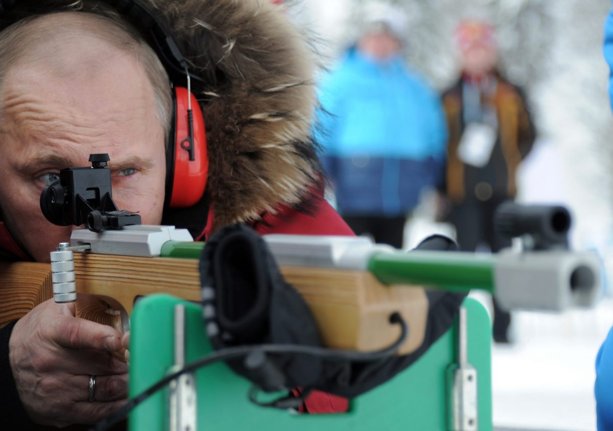 Vladimir Putin fires a sport gun at a sports complex outside Sochi on March 9, 2012. Photo: AFP/Ria Novosti/Alexey Druzhinin