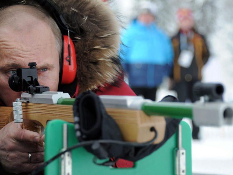 Vladimir Putin fires a sport gun at a sports complex outside Sochi on March 9, 2012. Photo: AFP/Ria Novosti/Alexey Druzhinin