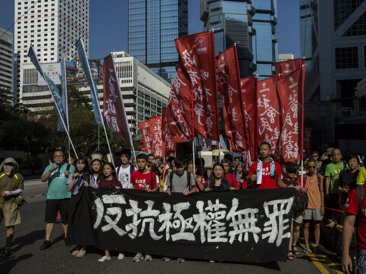 Thousands in Hong Kong protested against the jailing of activists. Photo: AFP/Isaac Lawrence