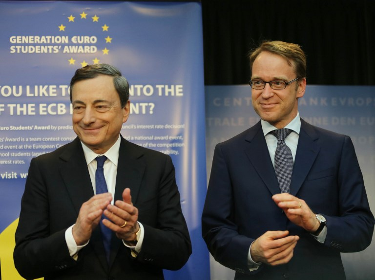 ECB President Mario Draghi and Bundesbank President Jens Weidmann. Photo: Mehmet Kaman/Anadolu Agency via AFP
