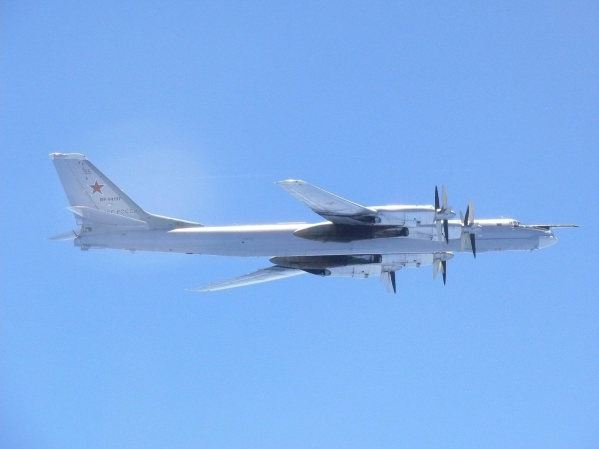 A Russian TU-95 bomber flies over around southern part of Japan. Joint Staff Office of the Defense Ministry of Japan/via Reuters