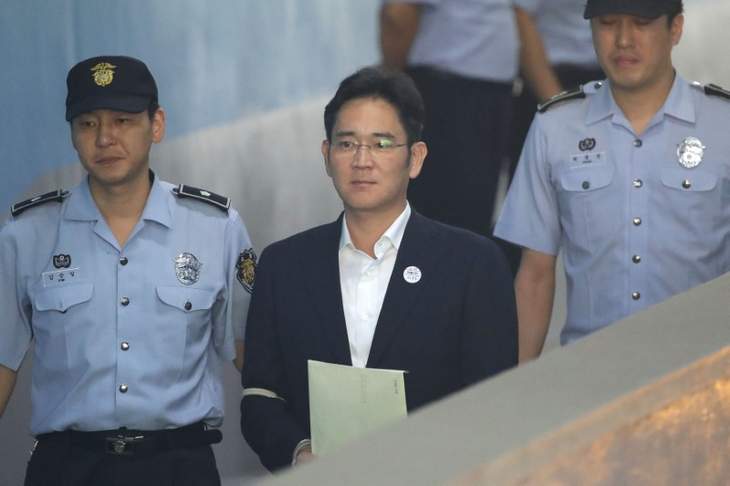 Lee Jae-yong, Samsung Group heir arrives at Seoul Central District Court to hear the bribery scandal verdict on August 25, 2017 in Seoul, South Korea. REUTERS/Chung Sung-Jun/Pool
