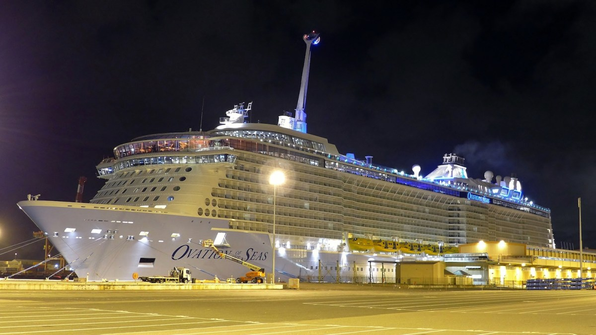 Royal Caribbean's Ovation of the Seas, the third ship in the company's Quantum Class, docks in Fremantle. The Spectrum of the Seas will be another Quantum Class vessel. Photo: Wikipedia