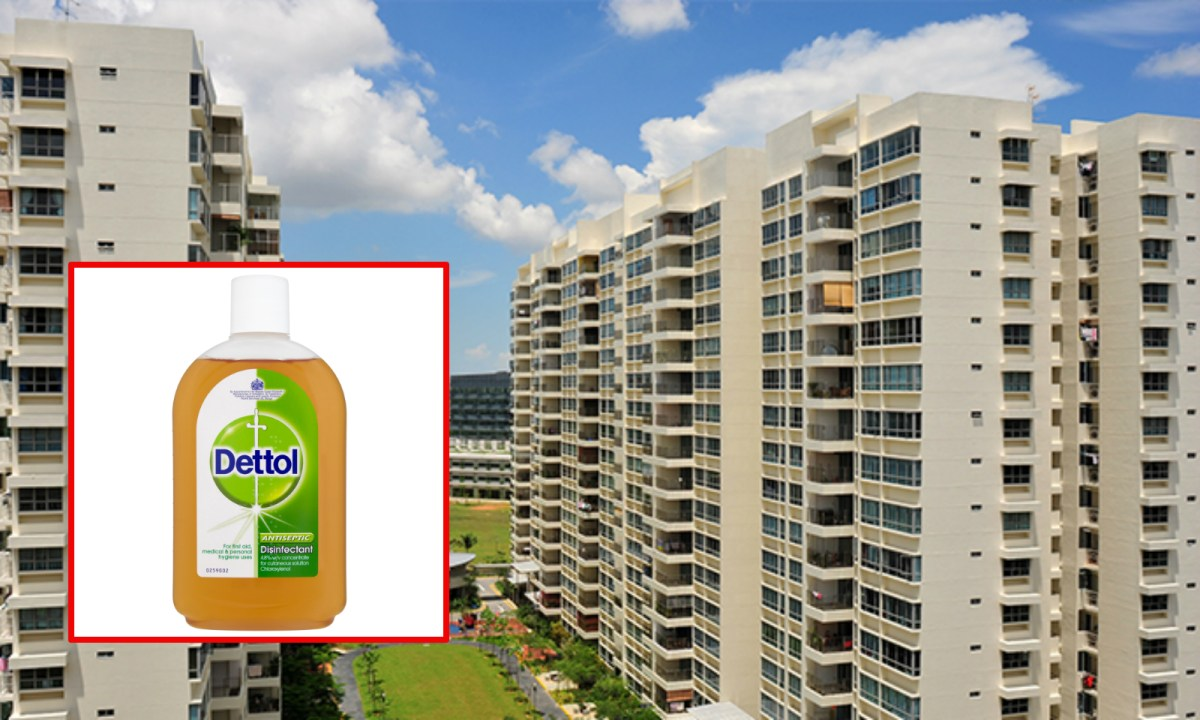 Tampines in Singapore, with a bottle of Dettol (inset). Photos: hdb.gov.sg, dettol.co.uk