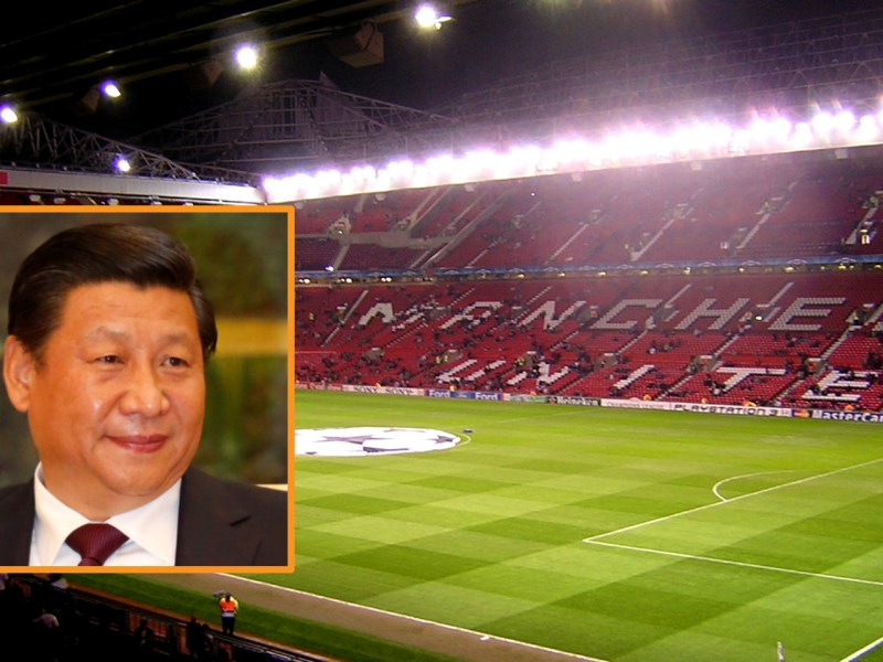 Some Chinese companies and tycoons have been interested in buying foreign football clubs in order to please Xi Jinping (inset). Photos: Wikimedia Commons, Xavoun, Gabhksw