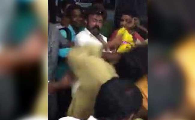 Actor-politician Nandamuri Balakrishna was caught on camera slapping a fan. Photo: NDTV