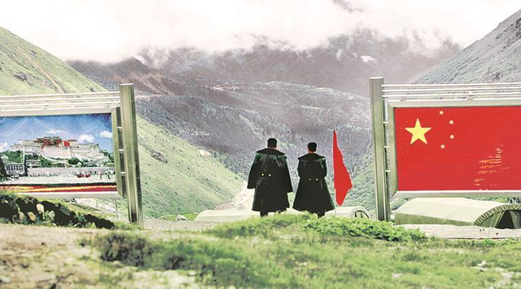 Chinese troops are seen in the border area near the Doklam plateau.  An image from The Indian Express
