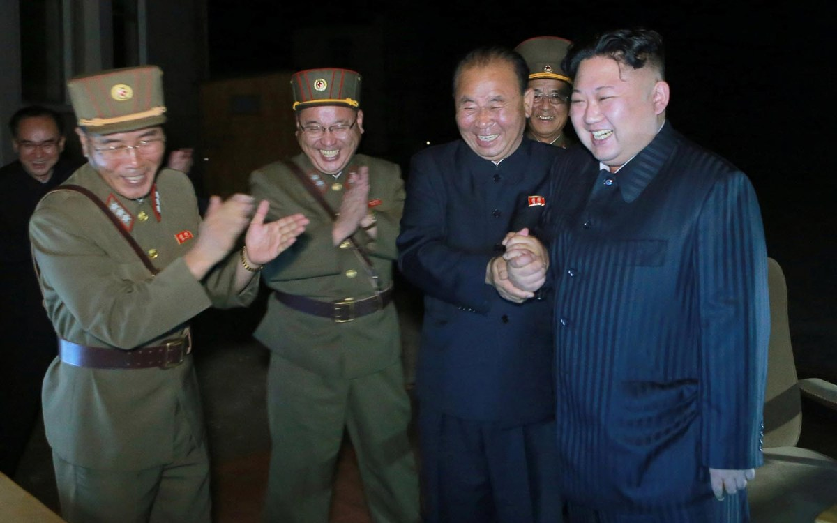 North Korean leader Kim Jong-Un celebrates the second test-fire of intercontinental ballistic missile Hwasong-14 in this undated picture provided by KCNA in Pyongyang on July 29, 2017. Photo: Reuters/via KCNA