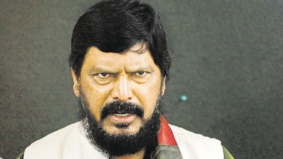 Republican Party of India leader Ramdas Athawale speaks in Mumbai. Photo: Hindustan Times