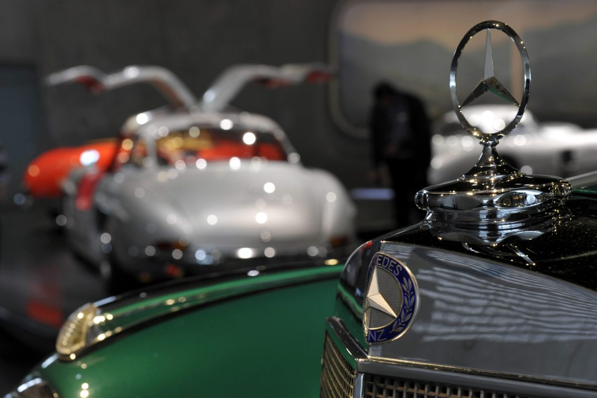 A Mercedes star is pictured at the Mercedes-Benz Museum in Stuttgart, southern Germany. Photo: Thomas Kienzle