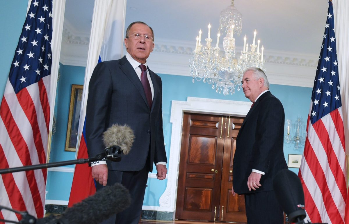The then US Secretary of State Rex Tillerson (right) watches as Russian Foreign Minister Sergei Lavrov reacts to a reporter's question at the State Department in Washington, DC, on May 10, 2017. Photo: AFP / Mandel Ngan