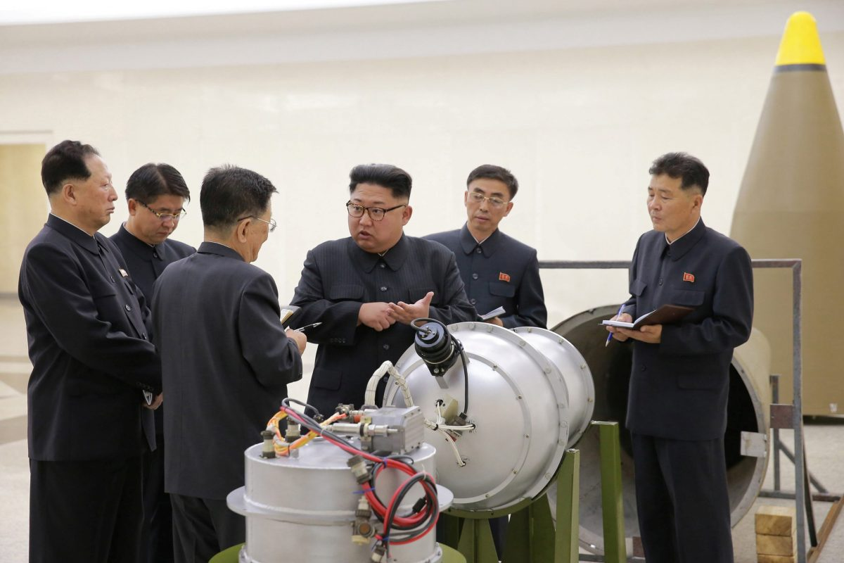 North Korean leader Kim Jong-un monitors a nuclear weapons program in this undated photo released by the Korean Central News Agency in Pyongyang on September 3, 2017. Photo: KCNA via Reuters