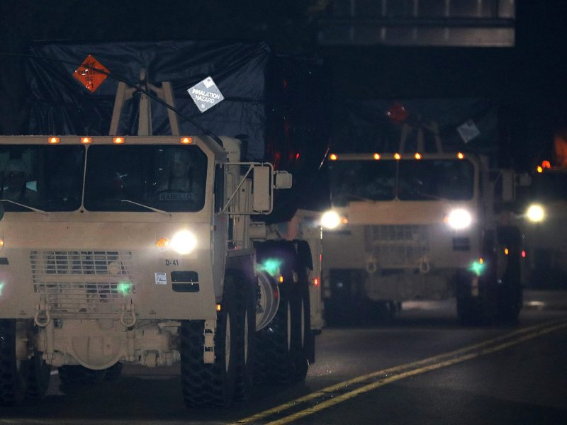 A part of South Korea's Terminal High Altitude Area Defense (THAAD) system heads for Seongju, near the Osan Air Base in Pyeongtaek, South Korea, on September 7, 2017. Photo: News1 via Reuters