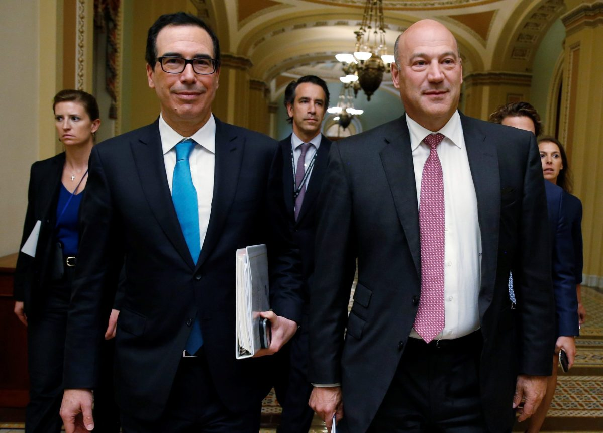 U.S. Secretary of the Treasury Steven Mnuchin and Director of the National Economic Council Gary Cohn walk after meeting with Republican law makers about tax reform on Capitol Hill in Washington. Photo: Reuters/Joshua Roberts