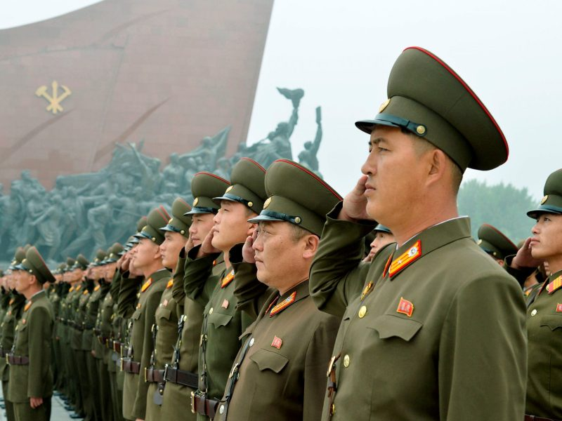 North Korean soldiers salute at Mansudae hill in Pyongyang. Kyodo/via Reuters