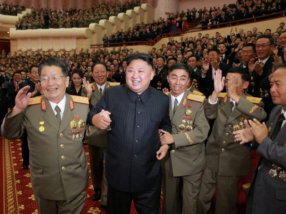 North Korean leader Kim Jong Un reacts during a celebration for nuclear scientists and engineers who contributed to a hydrogen bomb test, in this undated photo released by North Korea's Korean Central News Agency on Sept 10. Photo via Reuters