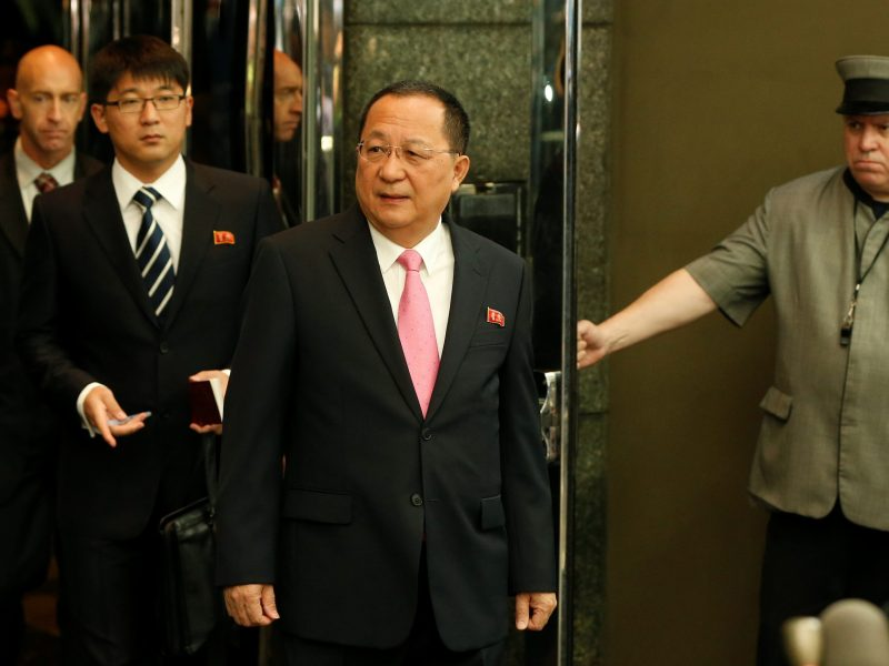 North Korean Foreign Minister Ri Yong-ho walks to speak to the media outside the Millennium hotel New York, U.S., September 25, 2017. REUTERS/Shannon Stapleton