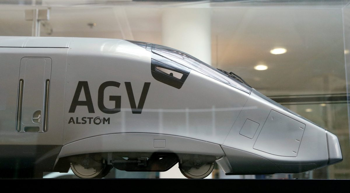 A scale model of an AGV high speed train with the logo of Alstom. Photo: Reuters/Gonzalo Fuentes