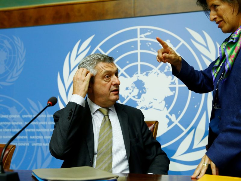 UN High Commissioner for Refugees Filippo Grandi gestures after a news conference on Myanmar at the United Nations in Geneva, Switzerland, on September 27, 2017.  Photo: Reuters / Denis Balibouse