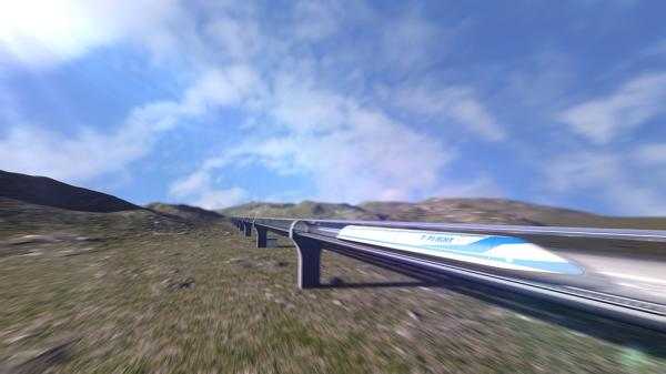 The 'flying train' would have a top speed of 4,000km/h, compared to the 1,200km/h maximum of Elon Musk's Hyperloop trains. Photo: Handout