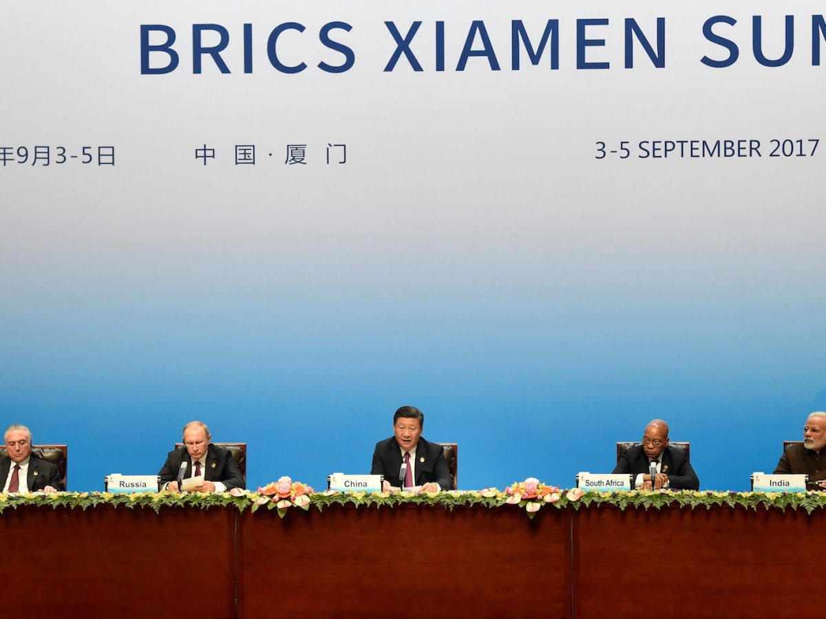Chinese President Xi Jinping (center) delivers a speech at the BRICS Summit in Xiamen, Fujian province, China, on September 4, 2017. Photo: Reuters / Kenzaburo Fukuhara / Pool