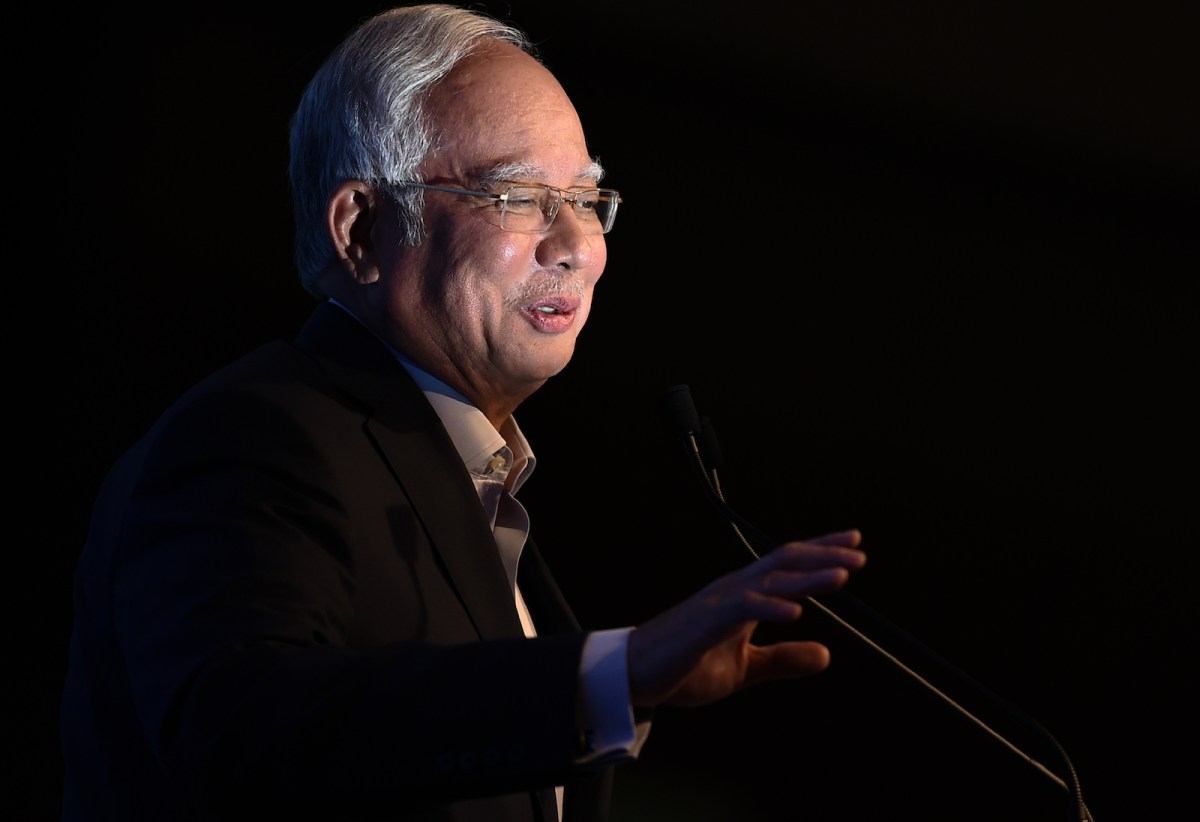 Malaysia's then Prime Minister Najib Razak speaks during the launching of the Malaysia world's Digital-Free Trade Zone in Kuala Lumpur on March 22, 2017. Photo: AFP/Mohd Rasfan