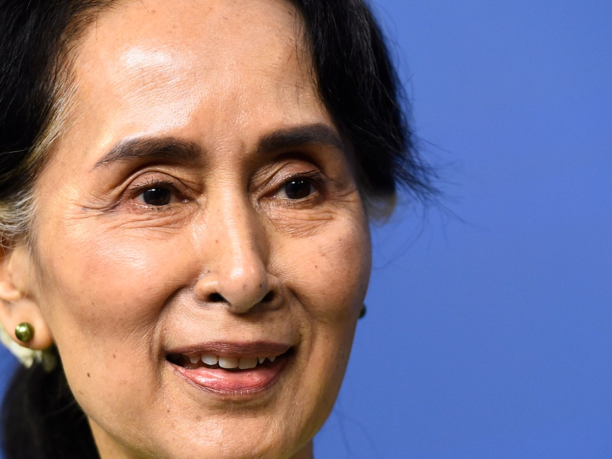 Myanmar State Counselor Aung San Suu Kyi speaks during a joint a press conference with Sweden's prime minister on June 12, 2017, in Stockholm. Photo: AFP / Jonathan Nackstrand