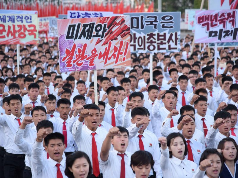 An anti-US rally at Kim Il Sung Square in Pyongyang, North Korea on Sept. 23, 2017. Photo: Reuters/KCNA