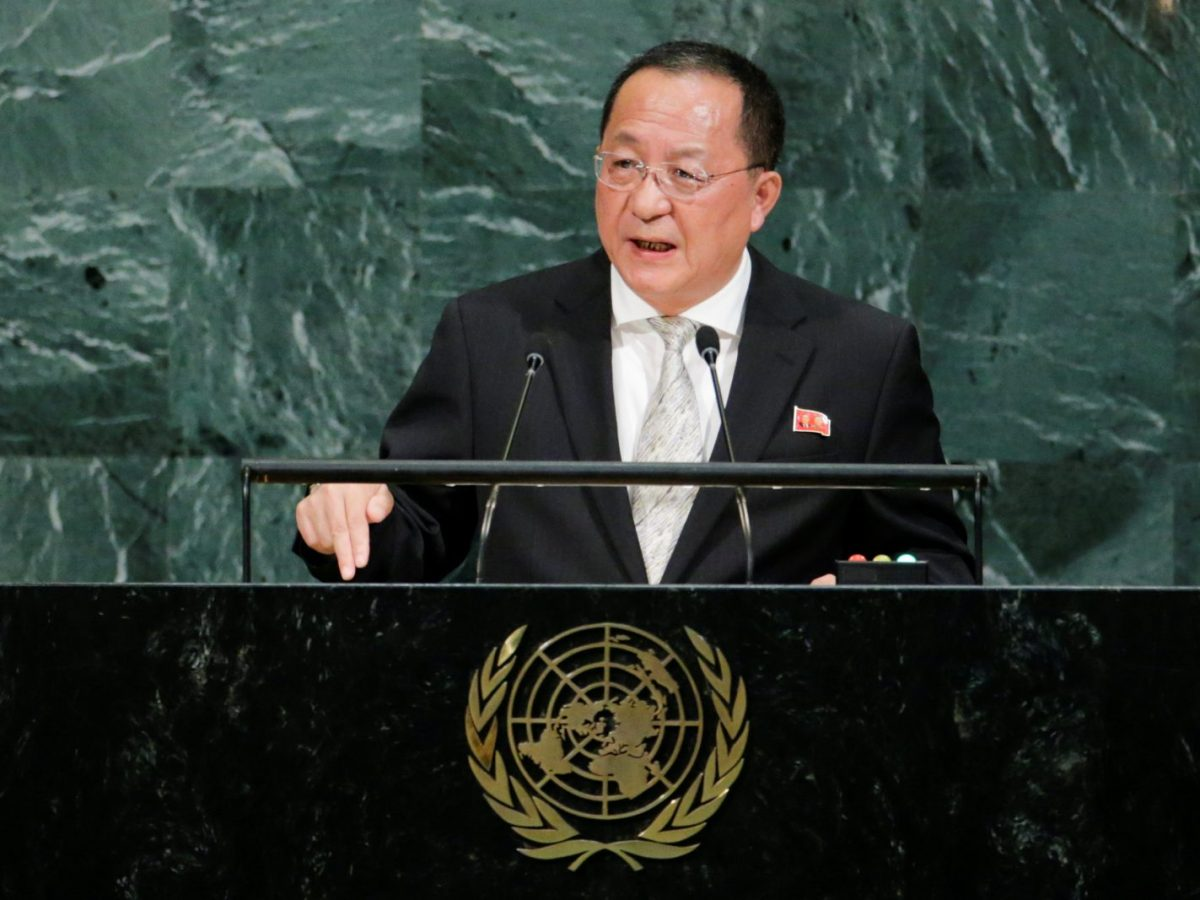 North Korean Foreign Minister Ri Yong-ho addresses the 72nd United Nations General Assembly on September 23, 2017. Photo: Reuters / Eduardo Munoz