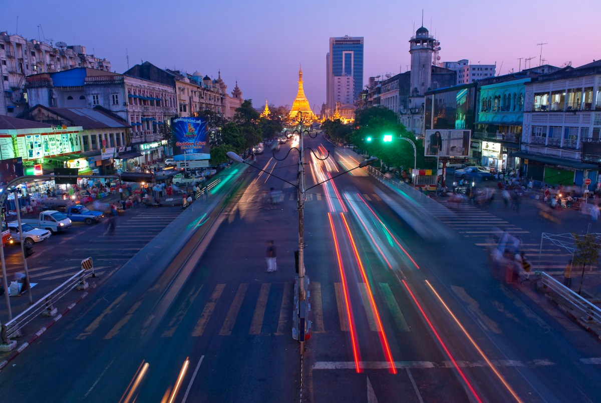 The Sule Pagoda stands at the end of a street in Yangon. Photo: iStock