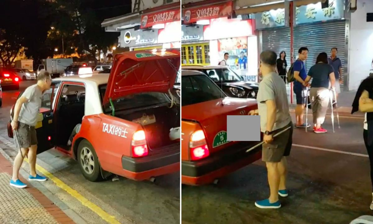 The driver is seen near his taxi in Yuen Long in the New Territories on Wednesday. Photo: Facebook, 生於亂世
