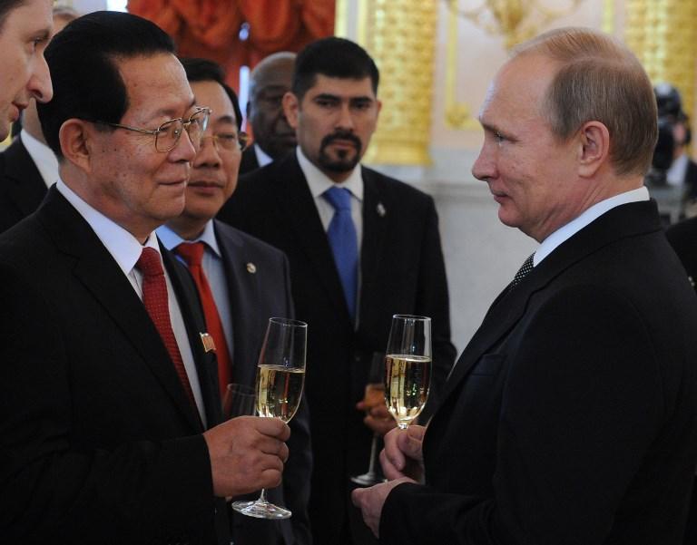 Russian President Vladimir Putin speaks with former North Korean ambassador Kim Hyun-joon in Moscow in 2014. Photo: AFP / Ria Novosti / Michael Klimentyev