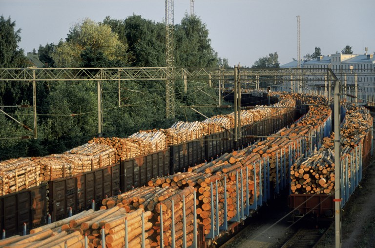 Timber train in Karelia, Finland. Photo: AFP