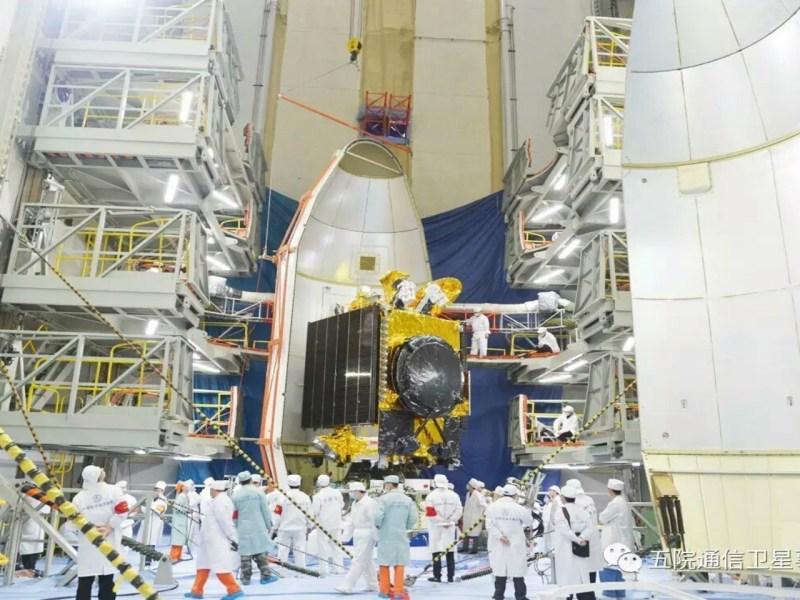 Shijian-13, aka ChinaSat-16, the nation's first high-throughput communication satellite, is seen in its final assembly prior to its launch in 2017. Photo: China Academy of Space Technology