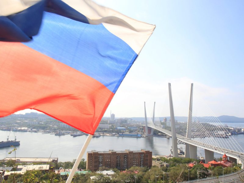 A Russian national flag flutters in front of the bridge over the Golden Horn bay in the Russian far-eastern city of Vladivostok September 10, 2012. Reuters/Sergei Karpukhin