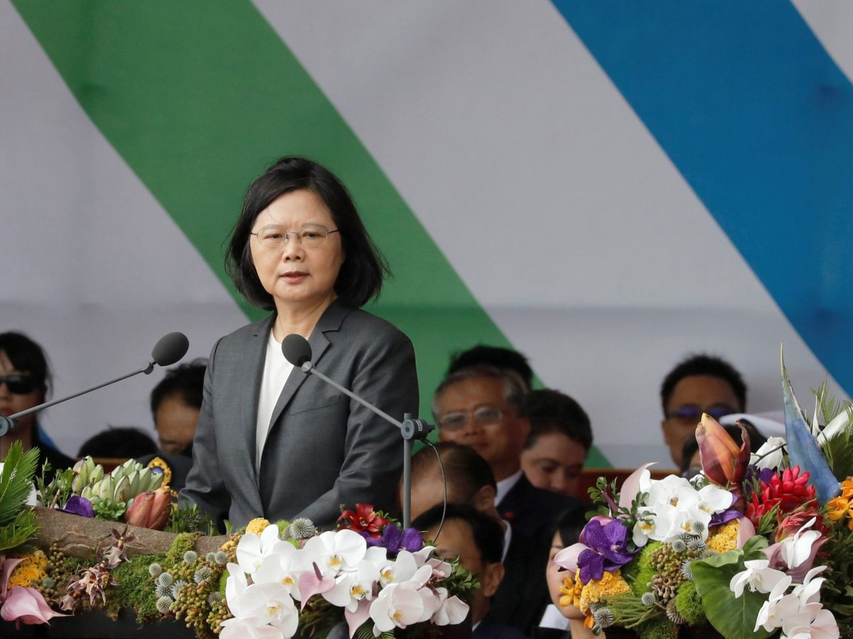 Taiwan's President Tsai Ing-wen gives a speech during the island's National Day celebrations in Taipei, Taiwan, October 10, 2017. Photo: Reuters / Tyrone Siu