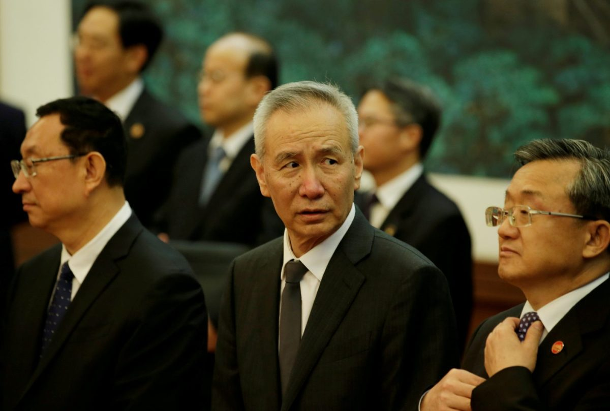 Liu He (center) attends a signing ceremony between China and Vietnam at the Great Hall of the People, on May 11, 2017. Photo: Reuters/Jason Lee