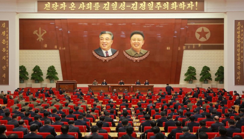 North Korean leader Kim Jong Un speaks during the Second Plenum of the 7th Central Committee of the Workers' Party of Korea (WPK) at the Kumsusan Palace of the Sun. KCNA/via Reuters