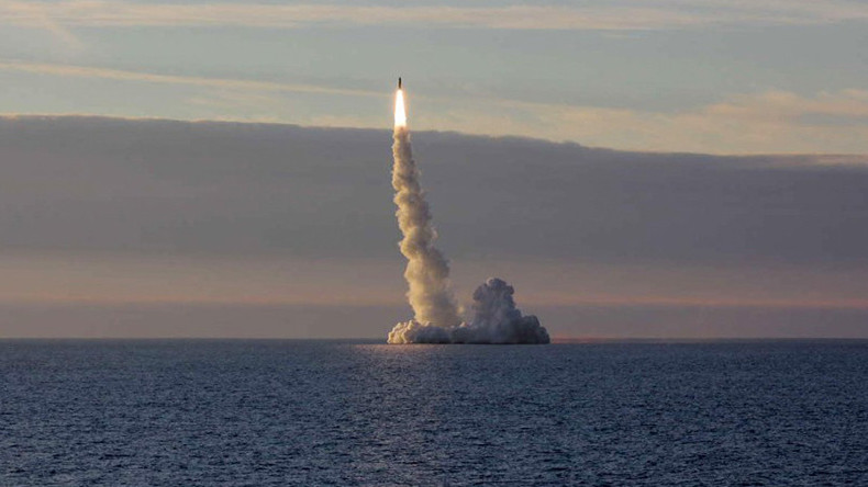 A Russian submarine launches a missile from the Barents Sea near Norway last June. Photo: Russian Defense Ministry
