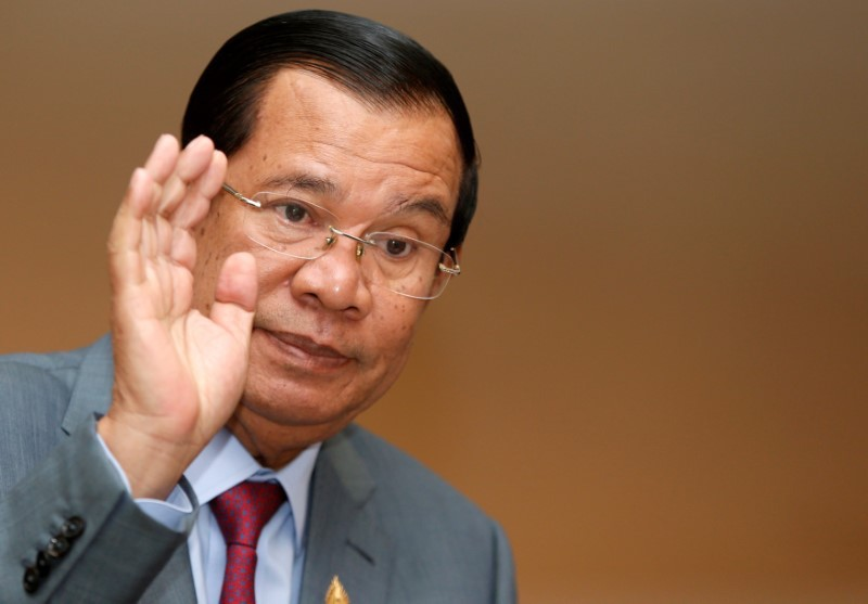 Cambodia's Prime Minister Hun Sen gestures as he attends a plenary session at the National Assembly of Cambodia in central Phnom Penh, October 16, 2017. Photo: Reuters/Samrang Pring