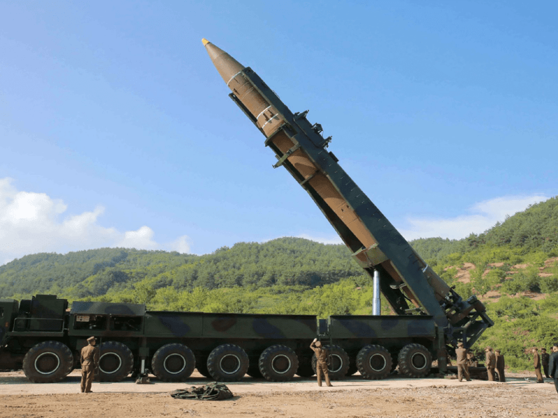 North Korea's first ICBM Hwasong-14 and its detachable platform. Photo: KCNA