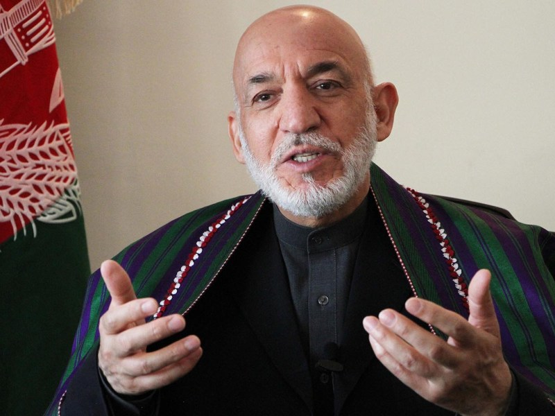 Former Afghan president Hamid Karzai speaks during an interview in Kabul in May. Photo: AFP/ Anadolu Agency