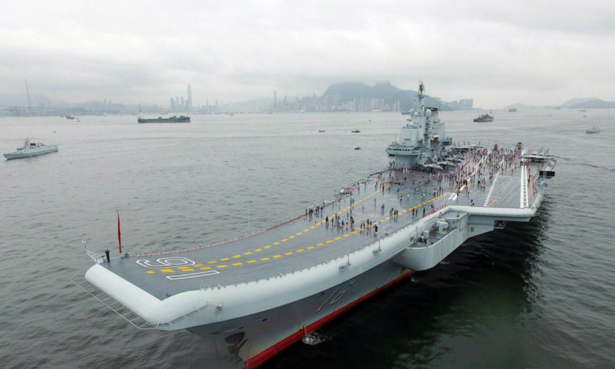 The Liaoning, China's first aircraft carrier, is seen during a port call to Hong Kong. Photo: Xinhua