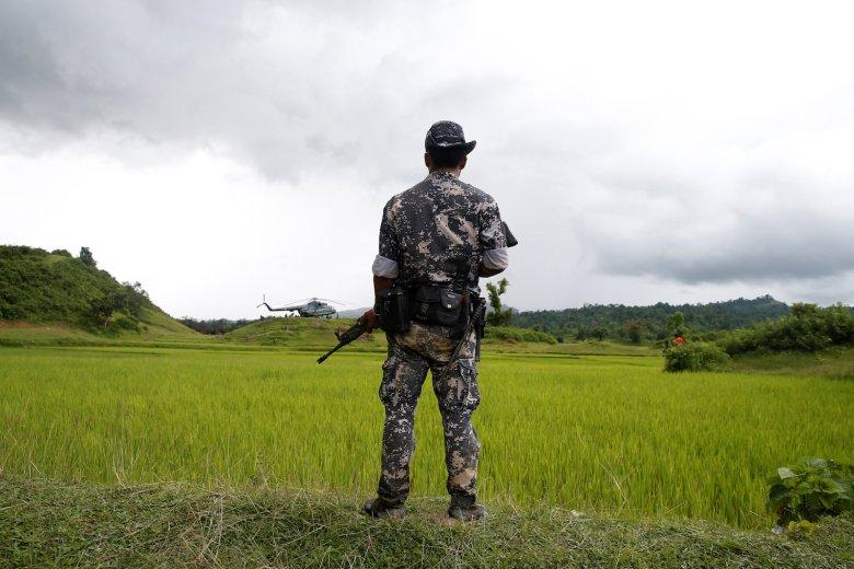 FILE PHOTO - A Myanmar soldier stands near Maungdaw, north of Rakhine state, Myanmar September 27, 2017. REUTERS/Soe Zeya Tun