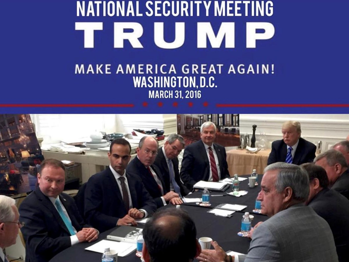George Papadopoulos (3rd L) appears in a photograph released on Donald Trump's social media accounts with a headline stating that the scene was of his campaign's national security meeting in Washington, DC on March 31, 2016. Photo: Social Media / Reuters