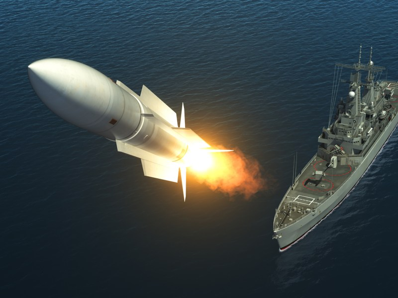 A missile is launched from a warship on the high seas. 3D Illustration: iPhoto