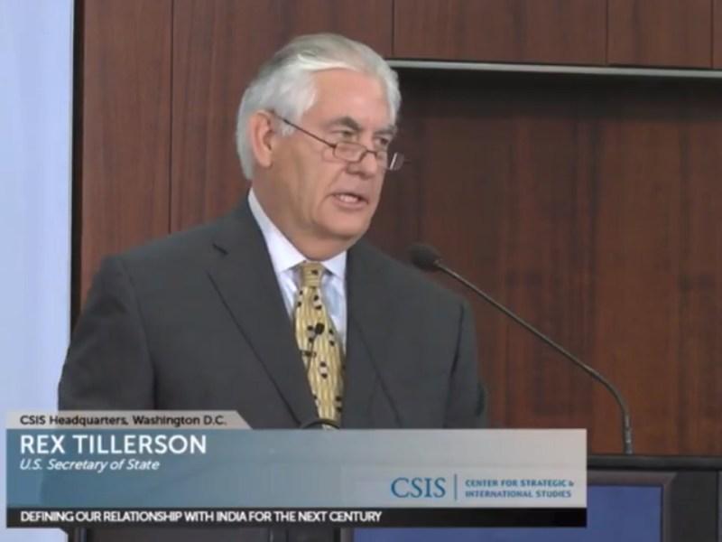 US Secretary of State Rex Tillerson speaks in Washington. Photo: CSIS
